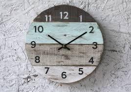 Seafoam Green Home Decor Beach Clock Round Reclaimed Wood Wall Clock Pale Seafoam