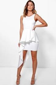 peplum dress bonnie asymmetric peplum dress boohoo