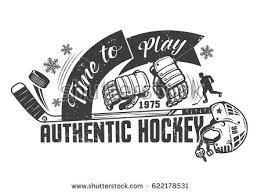 hockey accessories logo emblem tattoo vintage stock illustration