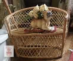 vintage miniature victorian style fireside rattan wicker settee benc