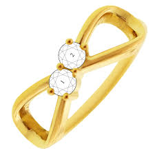 mothers rings 2 stones 2 infinity mothers ring in 10kt yellow gold