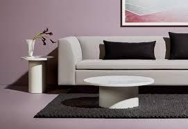 Blu Dot Bonnie Sofa by Plateau Side Table White Marble Side Table Blu Dot