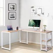 l shaped desk with side storage modernluxe l shaped computer desk with side storage shelves oak