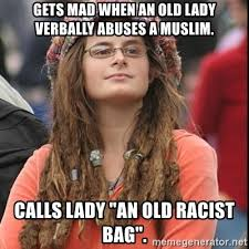 Old Lady College Meme - gets mad when an old lady verbally abuses a muslim calls lady an