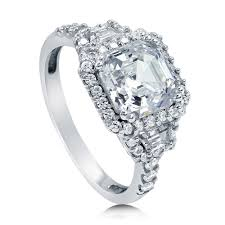Art Deco Wedding Rings by Sterling Silver Asscher Cubic Zirconia Cz Halo Art Deco Engagement