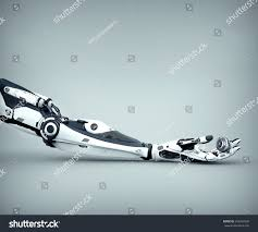 futuristic design robot arm mechanical fingers stock illustration