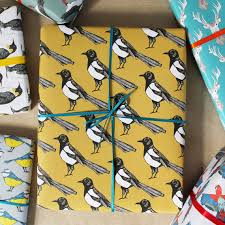 bird wrapping paper yellow magpie gift wrap birthday wrapping paper wedding gift