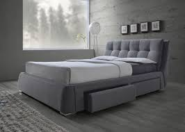 queen upholstered grey fabric bed frame four drawers with euro g