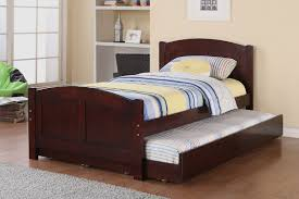 Twin Bed And Mattress Sets by Poundex Youth Bedroom Trundle Bed In Cherry Solid Wood