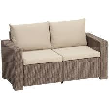 allibert by keter california 2 seater rattan sofa outdoor garden