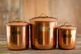 3 vintage copper kitchen canisters coffee tea by coffeewithdot