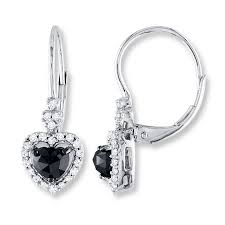 heart shaped diamond earrings black diamond earrings 1 ct tw heart shaped 10k white gold