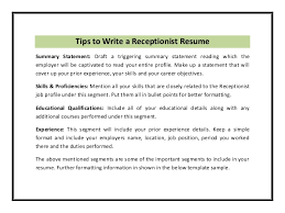 Resume Sample For Receptionist Position by Receptionist Resume Template Pdf