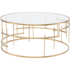 round gold glass coffee table nuevo modern furniture tiffany round coffee table w clear glass on