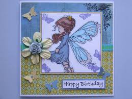 laughing ducks whimsy silver fairy stamped birthday card