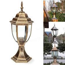 Antique Brass Outdoor Wall Lights by 220v E27 Outdoor Antique Brass Post Path Garden Lantern Vintage