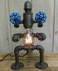 beard steampunk robot lamp pipe lamp man by silversawdesigns