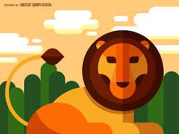 flat geometric lion illustration vector download