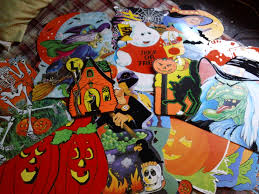 halloween front porch decoration with black crows bats and birds