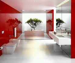 contemporary bathroom ideas with red and white color scheme