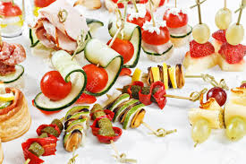 d oration canap up view set of canapes with vegetables salami seafood
