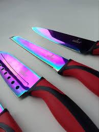 titanium kitchen knives rainbow titanium coated 5 knife set handle silislick