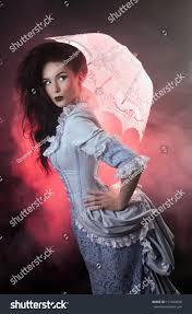 beautiful halloween vampire woman aristocrat laceparasol stock
