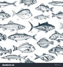 vector illustration sketch fish pattern stock vector 578927218