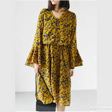 v neck chiffon maxi dress casual trumpet sleeve summer dress