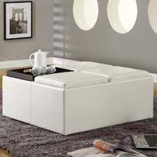 White Leather Storage Ottoman Furniture Interior Large Ottoman Ideas Large