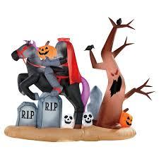 amazon com gemmy 9ft x 7 ft halloween animated headless horseman