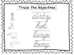 2 cursive trace the adjectives worksheets kdg 2nd grade handwriting