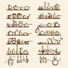 Kitchen Utensils Design by Kitchen Utensils On Shelves Sketch Drawing For Your Design