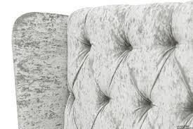 Silver Velvet Headboard by Elizabeth Winged Buttoned Crushed Velvet Bed Silver