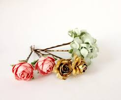 flower hair pins mint pink and gold flower hair pins floral hair clip