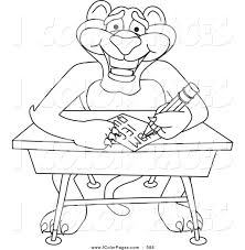 royalty free stock coloring page designs of cougar cartoon