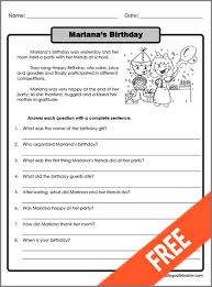 all worksheets free printable second grade reading comprehension