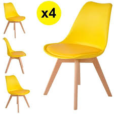lot de 4 chaises scandinaves coloris jaune skagen style