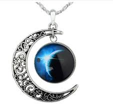 revenne jewelry crescent moon galaxy universe glass cabochon