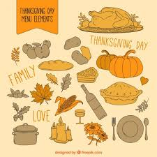 thanksgiving day menu elements vector free