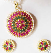 emerald earrings necklace images Fine design emerald ruby and pearl pendant with earrings gleam jewels jpg