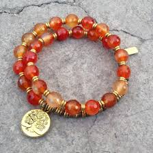 bead bracelet with charm images Faceted carnelian sacral chakra 27 bead wrist mala bracelet with jpg