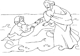 peter and jesus walking on water coloring page coloring page