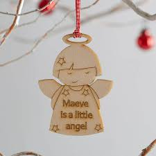 personalised angel wooden christmas decoration by we are scamp