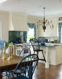 Antique English Windsor Chairs Blue And White Kitchen In A Greek Revival Old House Restoration