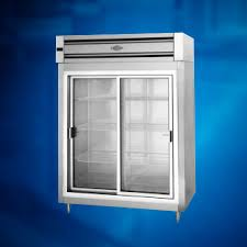 reach in two section sliding glass door refrigerator utility