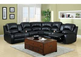 Black Leather Sofa Recliner 3 Pc Wolcott Contemporary Black Bonded Leather