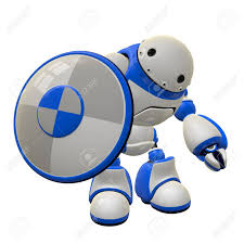 hi can concept in computer security a robot with a shield he is waving