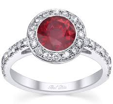 ruby and engagement rings micro pave halo engagement ring with ruby