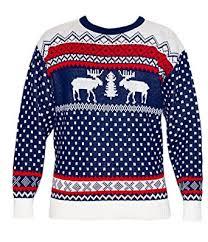 navy white fairisle retro christmas jumper large co uk